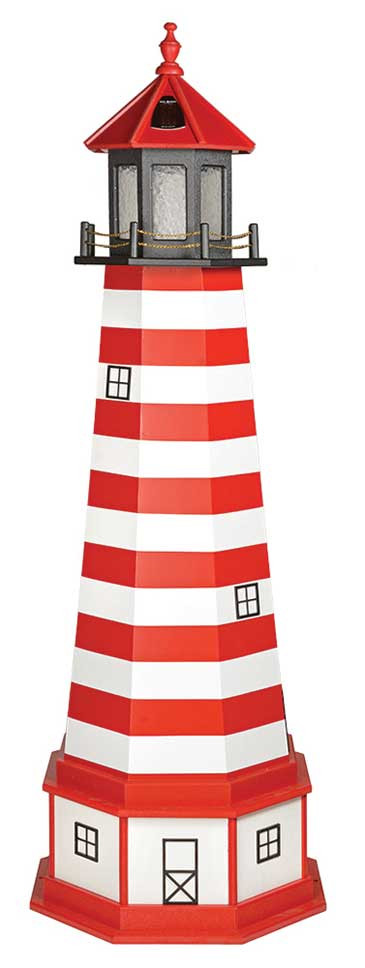 6' Amish Crafted Hybrid Garden Lighthouse - West Quoddy - Cardinal Red & White