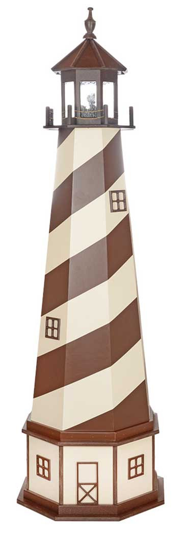 8' Amish Crafted Wood Garden Lighthouse w/ Base - Cape Hatteras - Brown & Ivory