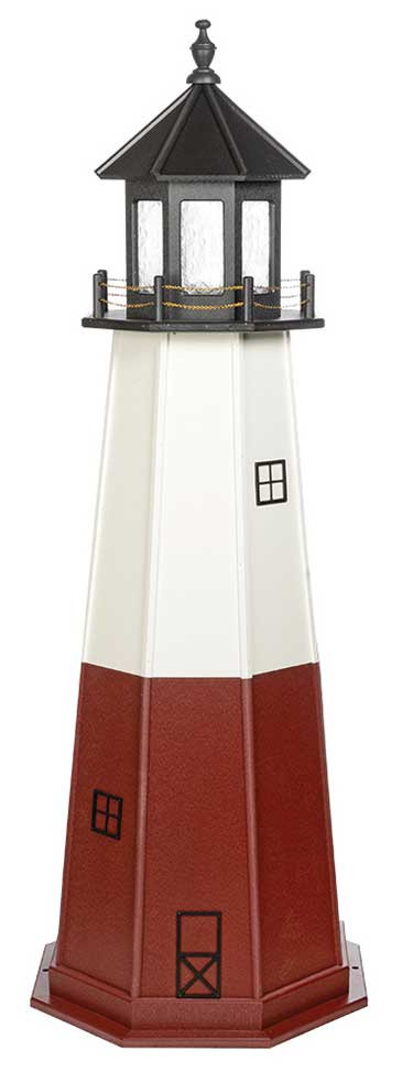 8' Vermillion Wooden Lighthouse