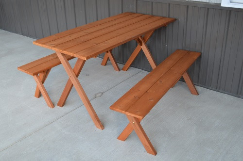 5' Crosslegged Economy Cedar Picnic Table w/ 2 Benches - Stained