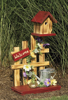 Picket Fence with Watering Can Birdhouse