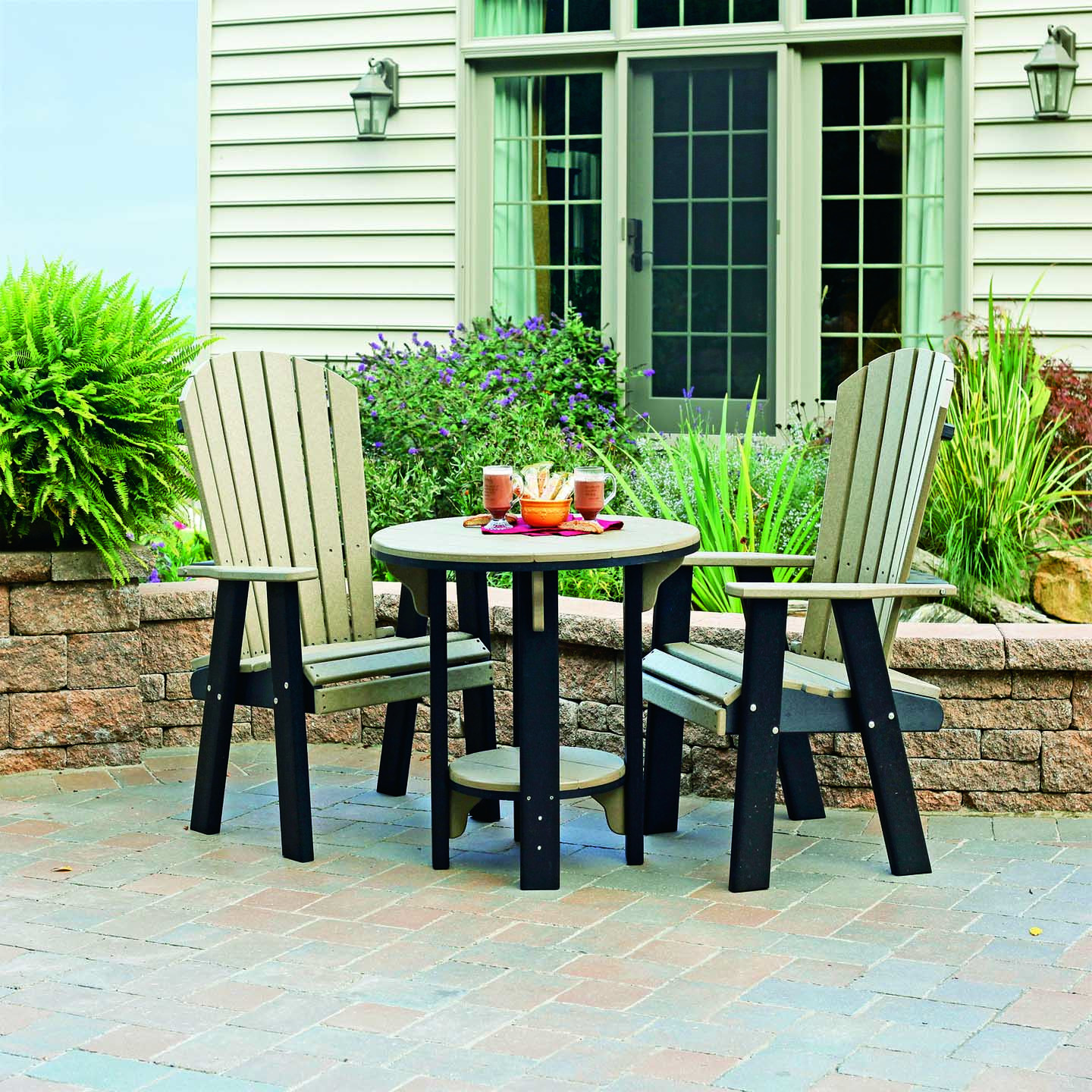 Poly Bistro Chair shown as a set (Other chair & table sold separately) - Weatherwood & Black