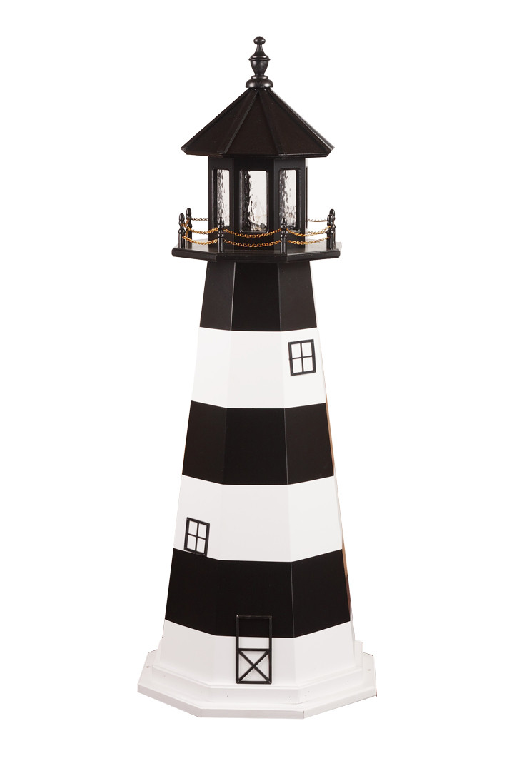 5' Amish Crafted Wood Garden Lighthouse - Bodie Island - Black & White