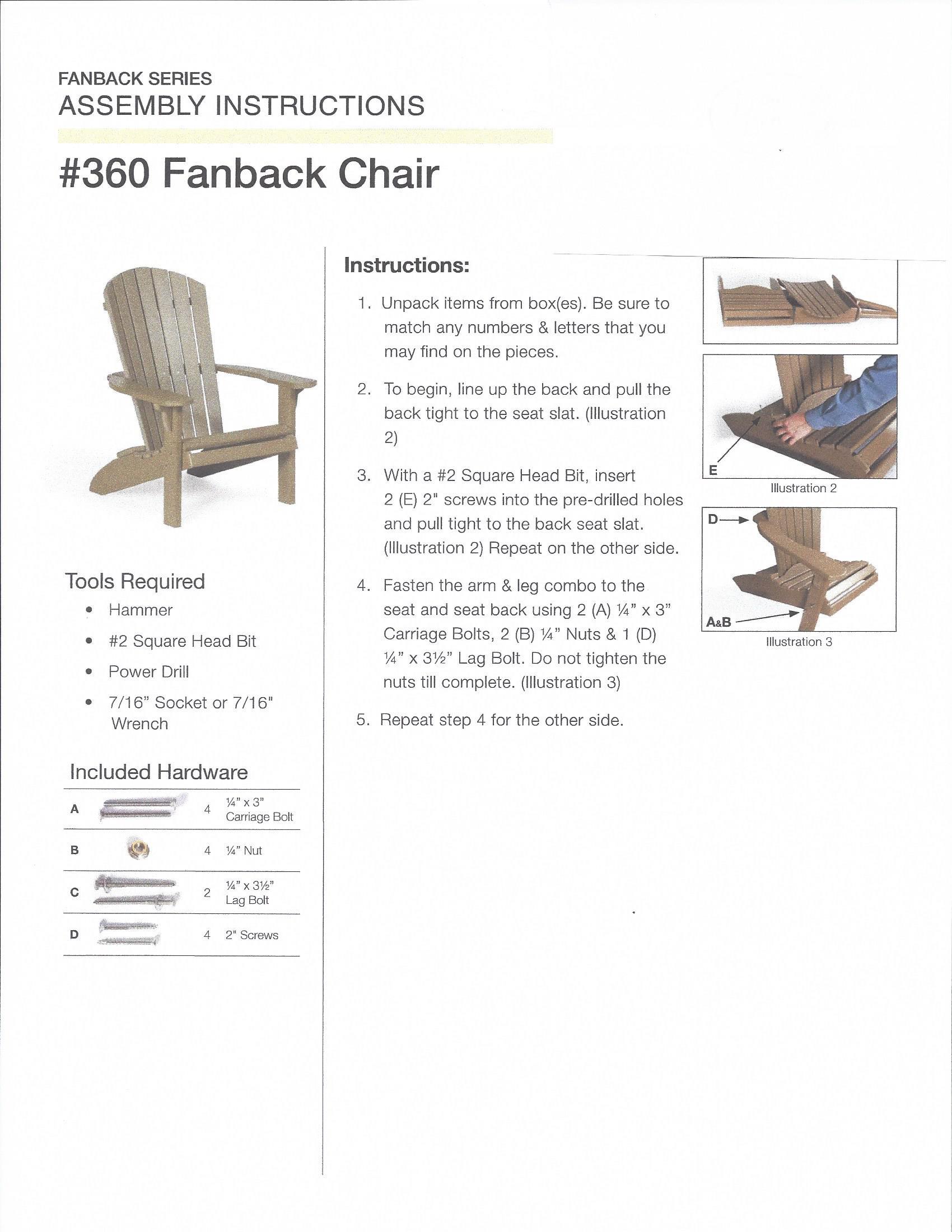 Fan Back Polywood Adirondack Chair Assembly Instructions