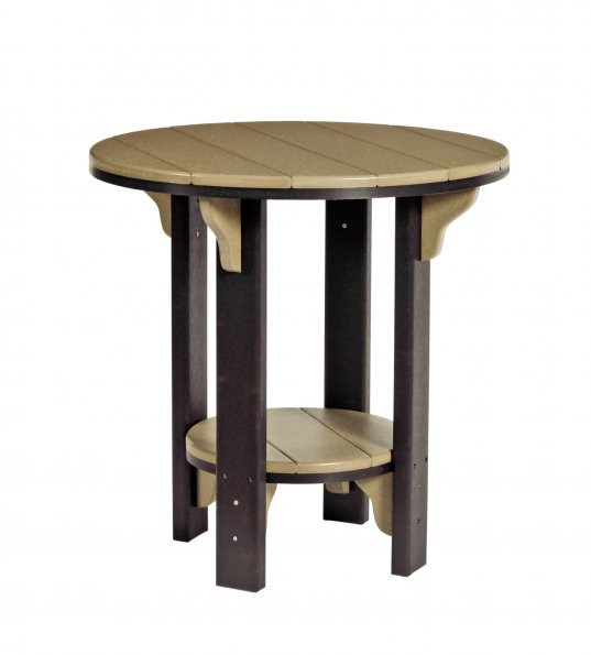 Poly Bistro Table - Weatherwood & Black