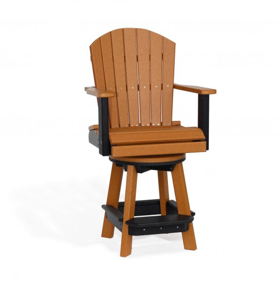 Poly Balcony Swivel Chair - Cedar & Black
