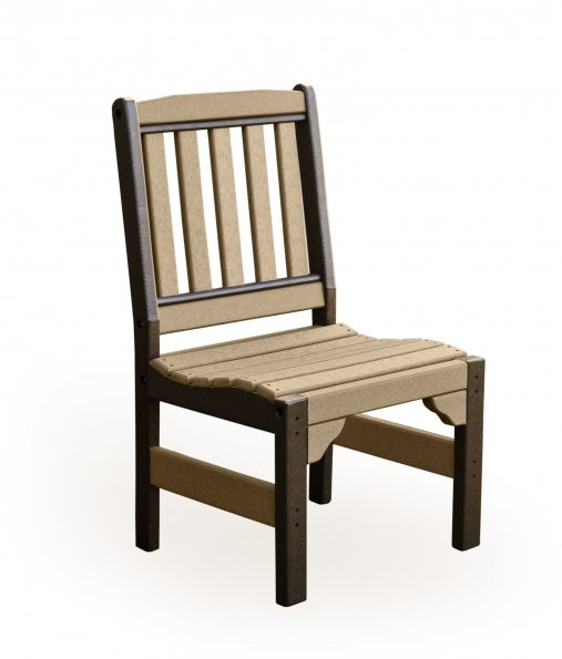 Poly English Garden Chair without Arms - Weatherwood & Brown