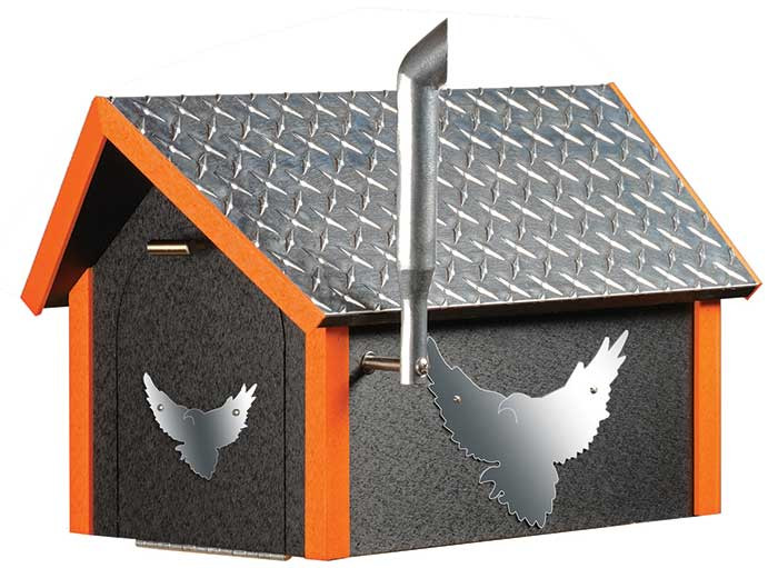 Deluxe Poly Biker Mailbox w/ Aluminum Plate Roof - Black & Orange