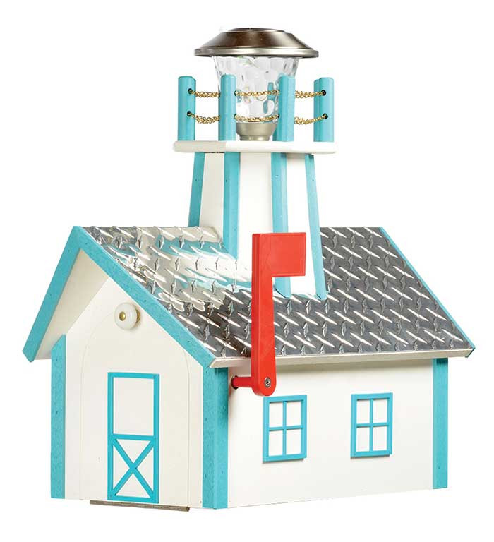 Deluxe Wood Lighthouse Mailbox w/ Aluminum Diamond Plate Roof - White & Aruba Blue
