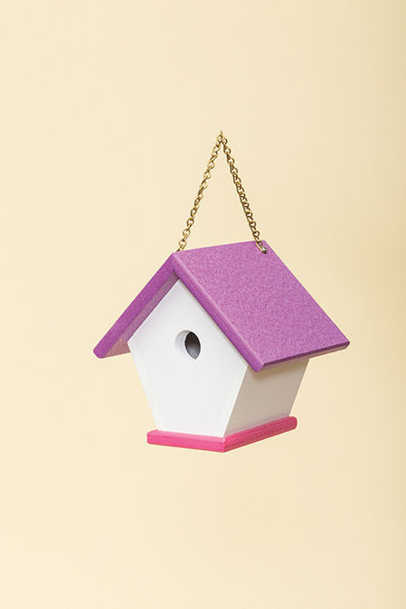 Poly Wren House shown in White/Purple & Pink
