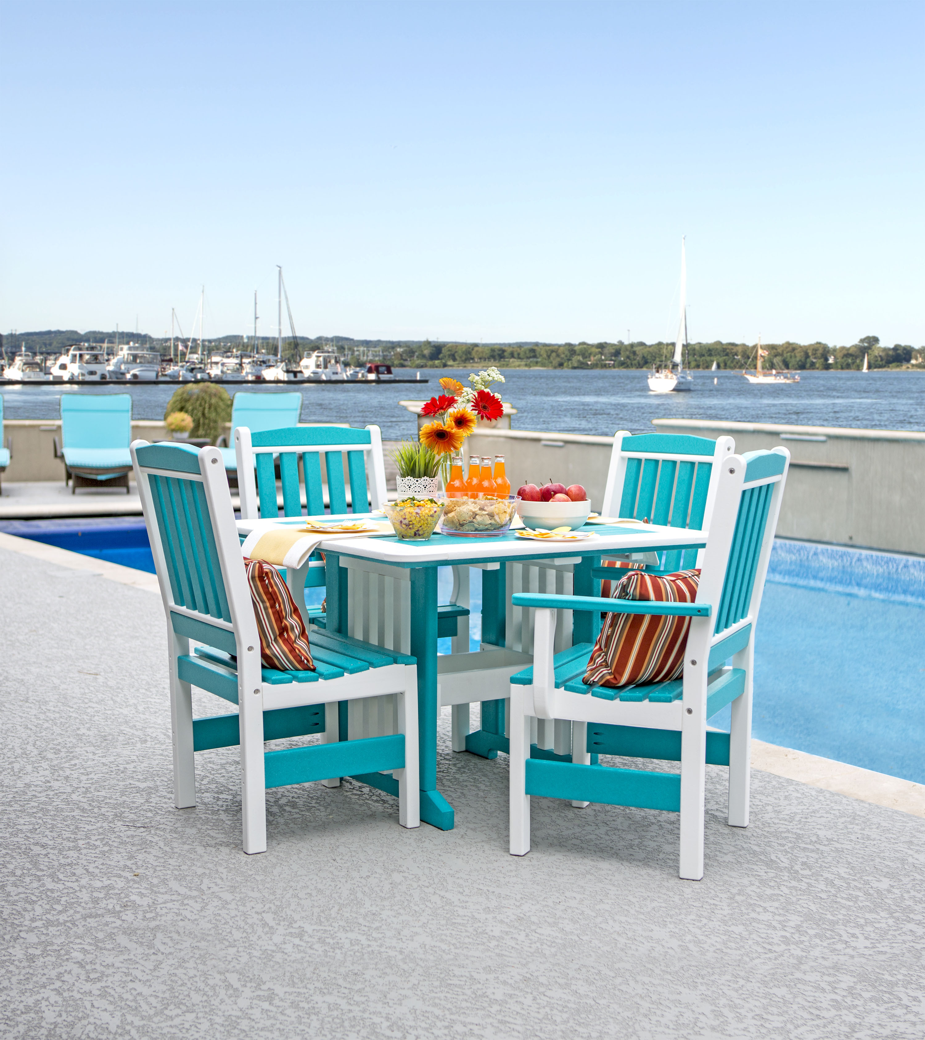 "Poly 43"" x 43"" Dining Table - Turquois & White (Chairs sold separately)"