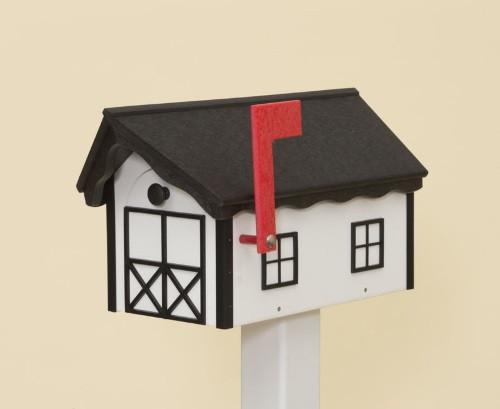 Dutch Barn Poly Mailbox - White Base/Black Roof & Trim