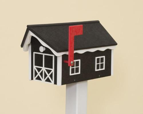 Dutch Barn Poly Mailbox - Black Base & Roof/White Trim