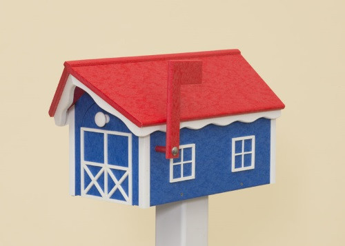 Dutch Barn Poly Mailbox - Royal Blue Base/Red Roof/White Trim