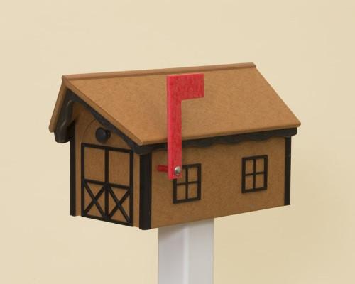 Dutch Barn Poly Mailbox - Cedar Base & Roof/Black Trim