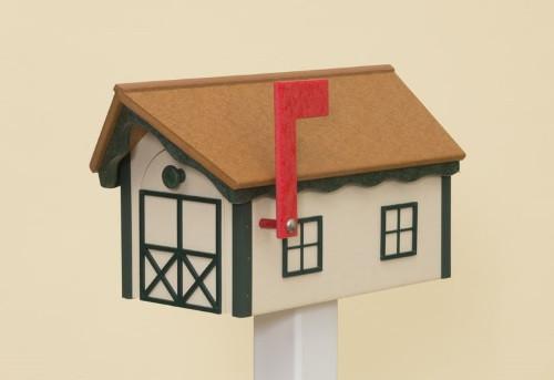 Dutch Barn Poly Mailbox - Ivory Base/Cedar Roof/Turf Green Trim