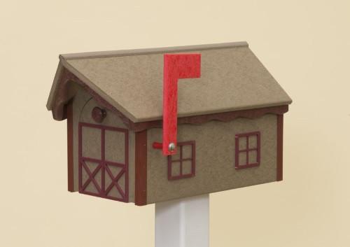 Dutch Barn Poly Mailbox - Weatherwood Base & Roof/Cherry Wood Trim