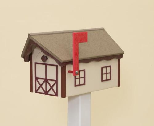 Dutch Barn Poly Mailbox - Ivory Base/Weatherwood Roof/Cherry Wood Trim