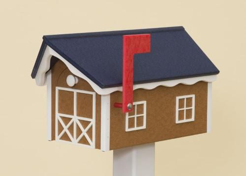 Dutch Barn Poly Mailbox - Cedar Base/Navy Blue Roof/White Trim