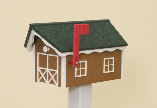 Dutch Barn Poly Mailbox - Cedar Base/Turf Green Roof/White Trim