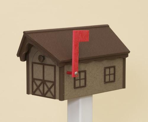 Dutch Barn Poly Mailbox - Weatherwood Base/Tudor Brown Roof & Trim
