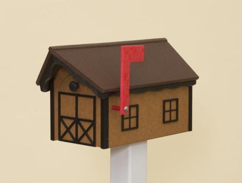 Dutch Barn Poly Mailbox - Cedar Base/Tudor Brown Roof/Black Trim