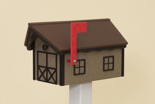 Dutch Barn Poly Mailbox - Weatherwood Base/Cherry Wood Roof/Black Trim