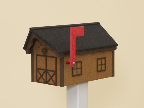 Dutch Barn Poly Mailbox - Cedar Base/Black Roof/Tudor Brown Trim