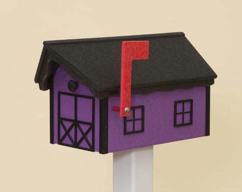 Dutch Barn Poly Mailbox - Purple Base/Black Roof & Trim