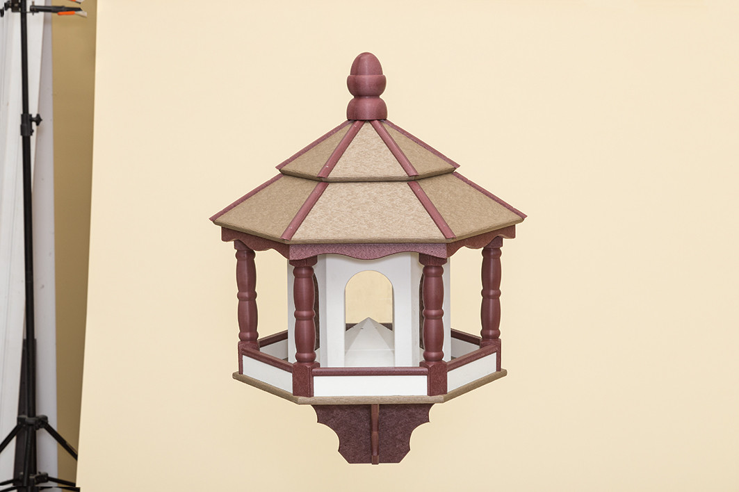 Large Hexagon Bird Feeder - Poly - Shown in White/Cherry Wood & Weatherwood