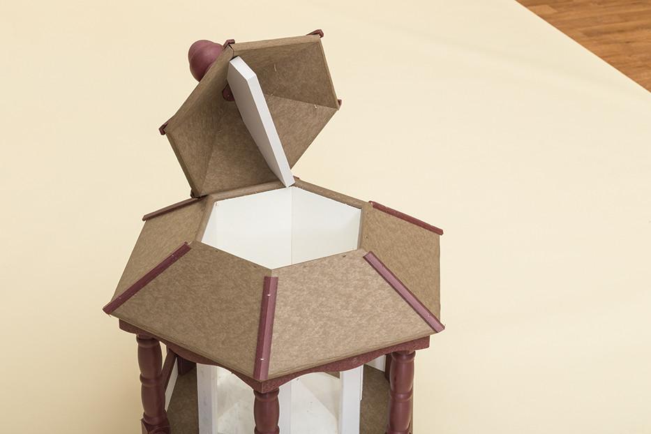 Small Hanging Hexagon Bird Feeder - Poly - Shown open