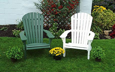 Fan Back Polywood Adirondack Chairs- Green & White