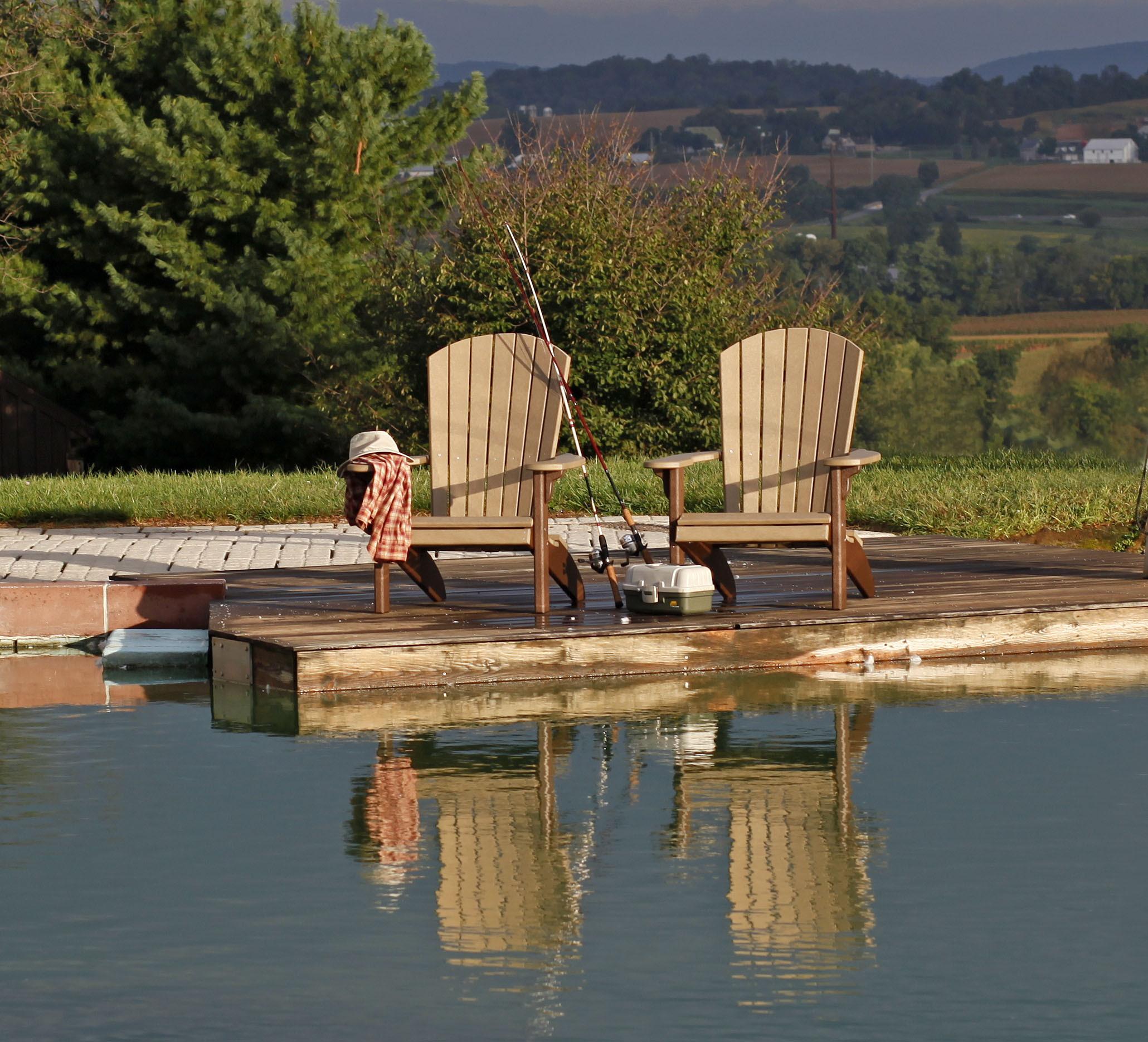 Fan Back Polywood Adirondack Chair - Weatherwood