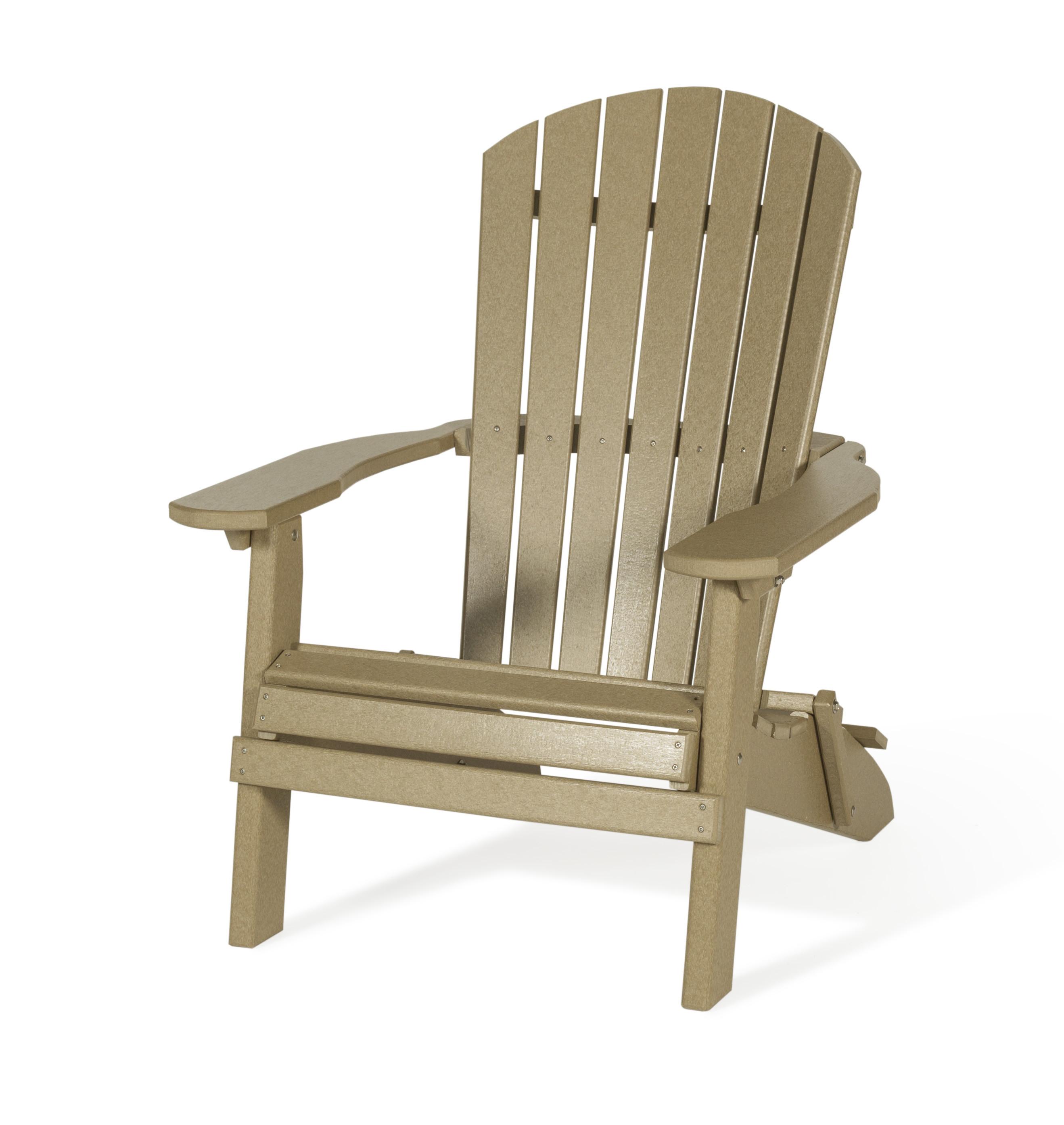 Folding Fan Back Polywood Adirondack Chair - Weatherwood