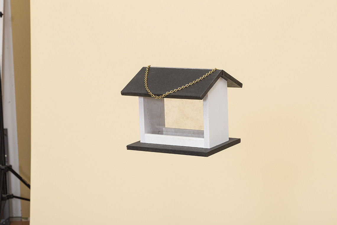 Small Hanging Rectangle Bird Feeder - Poly -Shown in Black & White