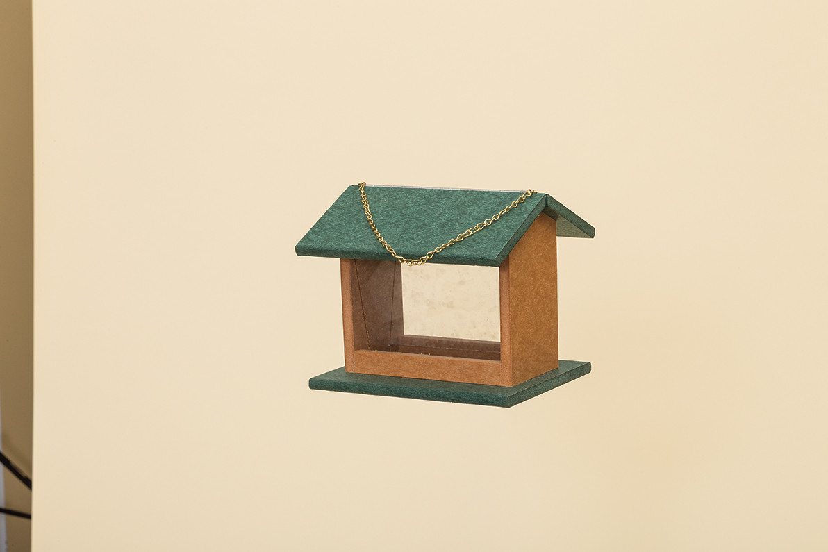 Small Hanging Rectangle Bird Feeder - Poly - Shown in Turf Green & Cedar