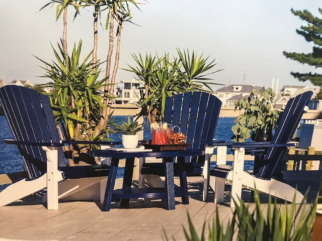 Fan Back Polywood Adirondack Chair - Patriot Blue & White (Table sold separately)