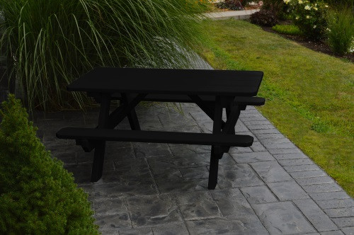 Kid's Yellow Pine Picnic Table with Attached Benches - Pine painted Black