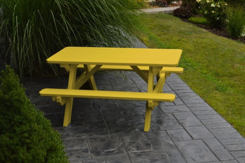 Kid's Yellow Pine Picnic Table with Attached Benches - Pine painted Canary Yellow
