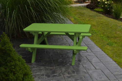 Kid's Yellow Pine Picnic Table with Attached Benches - Pine painted Lime Green