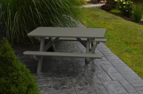 Kid's Yellow Pine Picnic Table with Attached Benches - Pine painted Olive Gray