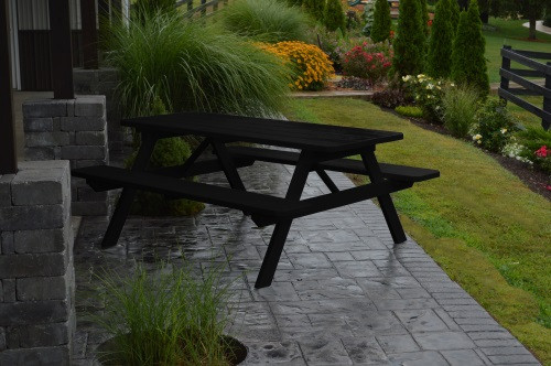 5' Yellow Pine Picnic Table w/ Attached Benches - Black