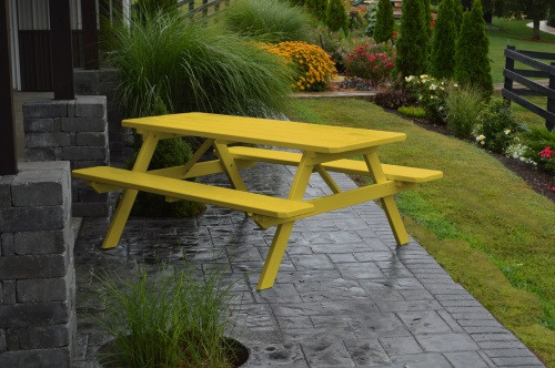 5' Yellow Pine Picnic Table w/ Attached Benches - Canary Yellow