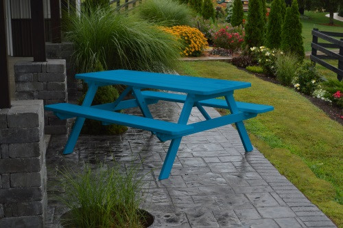 8' Yellow Pine Picnic Table w/ Attached Benches - Caribbean Blue