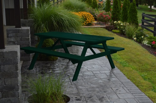 4' Yellow Pine Picnic Table w/ Attached Benches - Dark Green