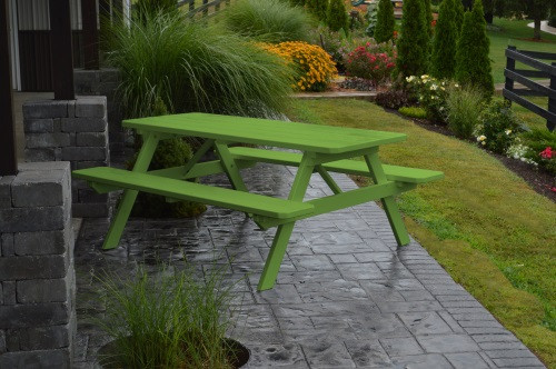 5' Yellow Pine Picnic Table w/ Attached Benches - Lime Green