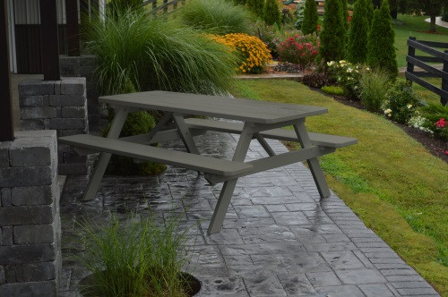 5' Yellow Pine Picnic Table w/ Attached Benches - Olive Gray