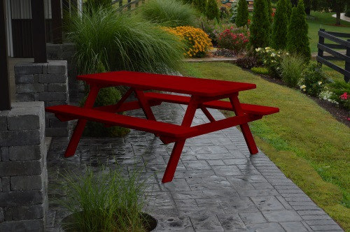 8' Yellow Pine Picnic Table w/ Attached Benches - Tractor Red