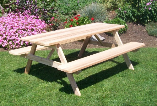 8' Cedar Picnic Cedar Table w/ Attached Benches - Unfinished