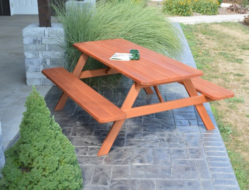 8' Cedar Picnic Cedar Table w/ Attached Benches - Redwood